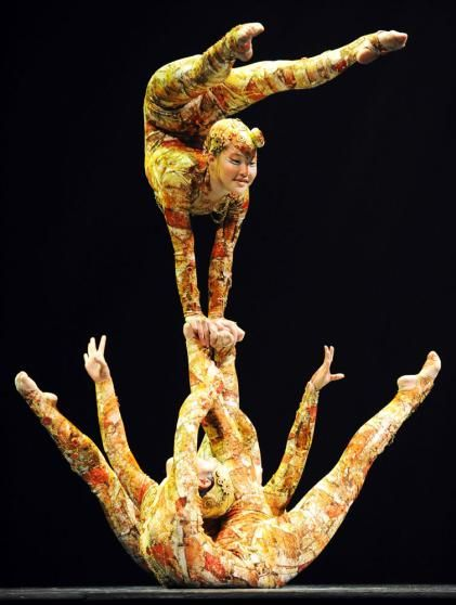 "Cirque Du Soleil performers contort their bodies during the ""Kooza"" press preview in Tokyo, on February 1, 2011."