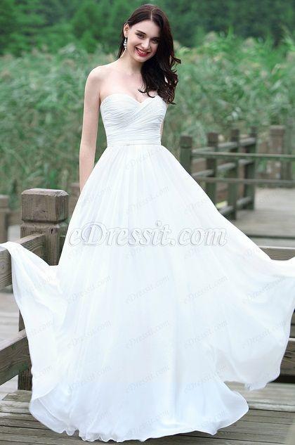 eDressit White Strapless Sweetheart Wedding Dress (01171307)