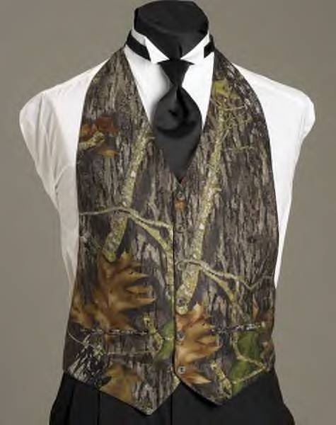 Mossy Oak Camo vest.... I know someone who will try and talk his bride into this!
