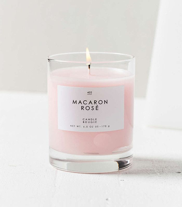 The label alone makes me want this macaron rose candle!