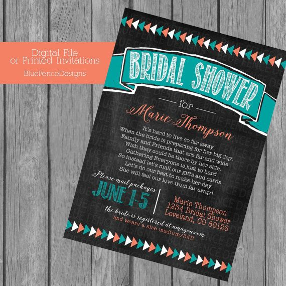 Long Distance Bridal Shower Aztec Chalkboard From Afar Military Across The Miles Adventure You Choose Colors Baby Surprise