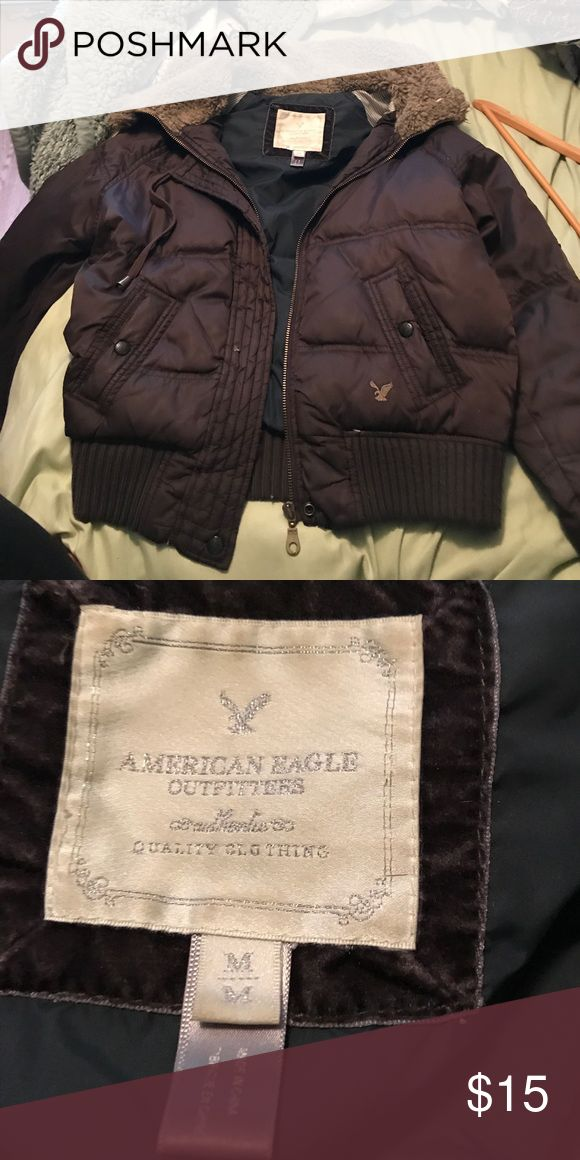 American eagle jacket Buffer short brown American eagle jacket with hood snug fit American Eagle Outfitters Jackets & Coats Puffers