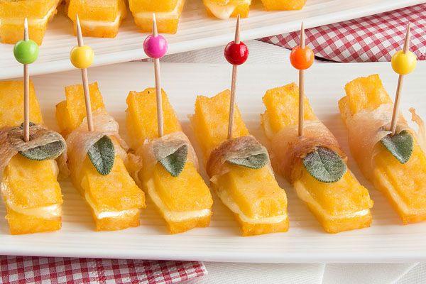 Mini sandwich di scamorza affumicata, lardo di Colonnata e polenta | Polenta Valsugana