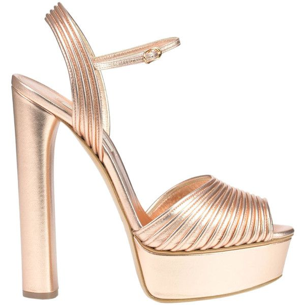 Casadei Metallic Effect Leather Sandals ($493) ❤ liked on Polyvore  featuring shoes, sandals