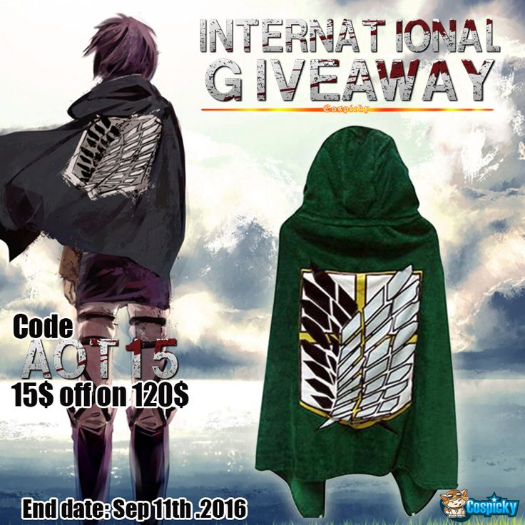 Here is a exclusive giveaway for you . Prize🎖 : One Attack On Titan Cape  1. Follow @cospicky 2. Like and Repin this pic  3. Finish above and enter here: http://goo.gl/ZMQrXv 4.Ends on Sep 11th, 2016  During this period , use code : AOT15 for 15$ off on 120$