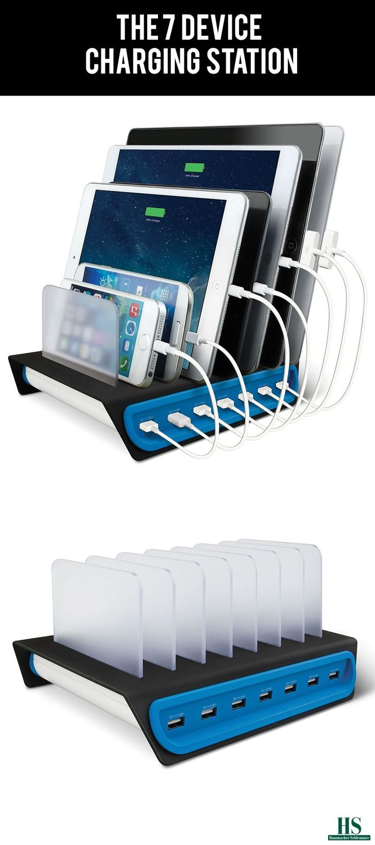 This is the charging station that supplies power to seven USB devices simultaneously. The hub draws power from a standard wall outlet and supplies up to 14 amps to its USB ports, enabling one to power tablets, e-readers, smartphones, iPods, and other electronic devices at once.