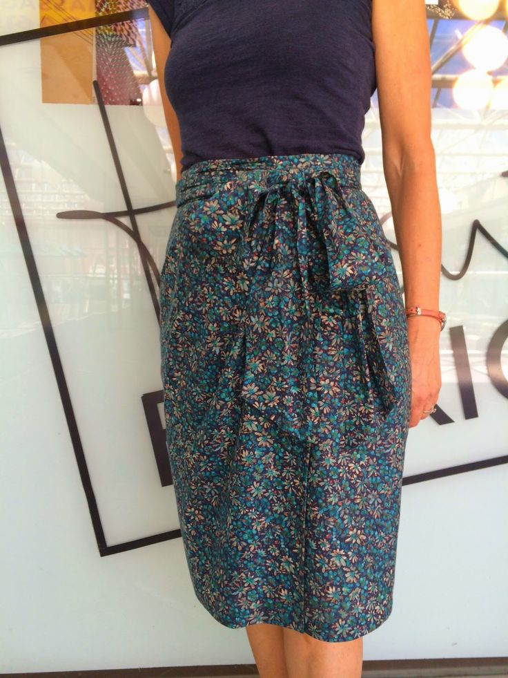 Liberty Of London Eleonora Teal in wrap skirt and sash belt - Vogue 8887