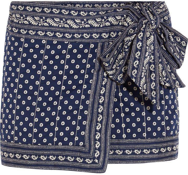 Etoile Isabel Marant Lyne Wrap-Effect Printed Cotton Mini Skirt