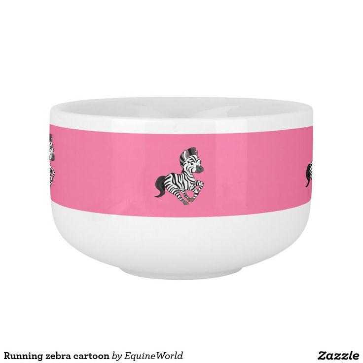 Running zebra cartoon soup mug
