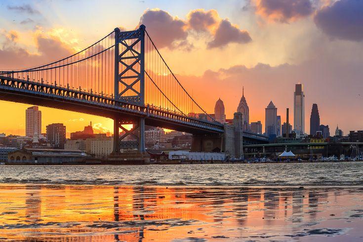 Philadelphia skyline, Ben Franklin Bridge and Penn's Landing sunset
