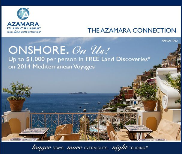 Calling all #Mediterranean #cruisers How would you like $1,000 worth of #FREE excursions? We have you covered!  Book a select 2014 Mediterranean #cruise before Dec 15, 2013 and get 1 free shore excursion at each port (up to $1,000) The best part is - You get to choose your excursion! #travel #vacation #vacay #vaca #excursion #getcruising @Azamara Club Cruises  Call us for more info 905 337 2228