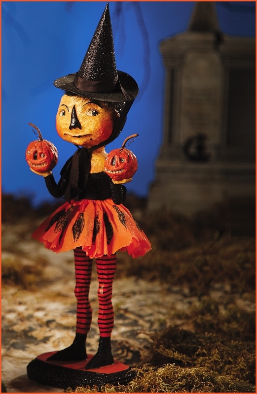 Bethany Lowe Designs Halloween 2011, Witch Girl with Pumpkin Buddies