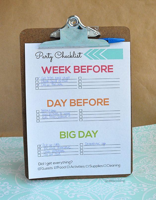 印刷可能なパーティーの準備チェックリスト - 記入する超キュートでシンプル! @ 30daysblog