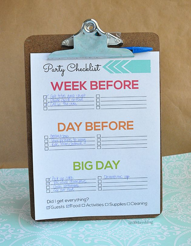 Printable Party Preparation Checklist - super cute and simple to fill out! @Sophia Thomas Thomas Thomas Hopkins Provost  30daysblog