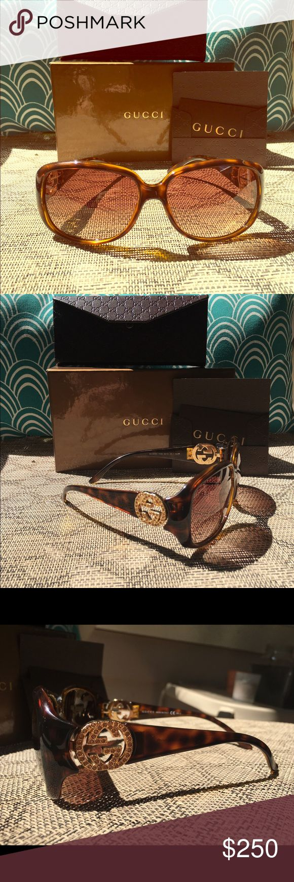 Gorgeous Gucci tortoiseshell women's sunglasses New sunglasses, never worn, with case and box from purchase. Amber crystal accent stones. Gucci Accessories Sunglasses