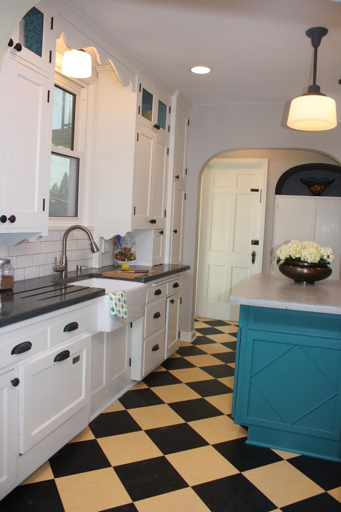 Checkered floor turquoise island linoleum pinterest for Black lino kitchen flooring