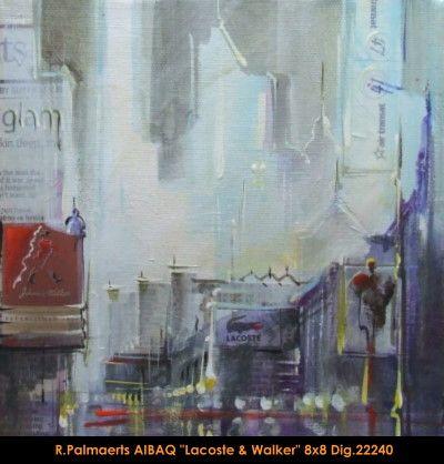 Original multimedium painting on canevas by Roland Pamaerts #Palmaerts #art #figurativeart #CanadianArt #originalartwork #mixtmedia #quebecartist #canadianartist #cityscene #shoppingstreet #contemporaryart #fineart #balcondart #multiartltee