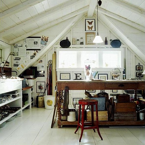 Great studio!Attic Office, Studios Spaces, Art Studios, Attic Spaces, Crafts Room, Work Spaces, Attic Studio, Workspaces, Design Home