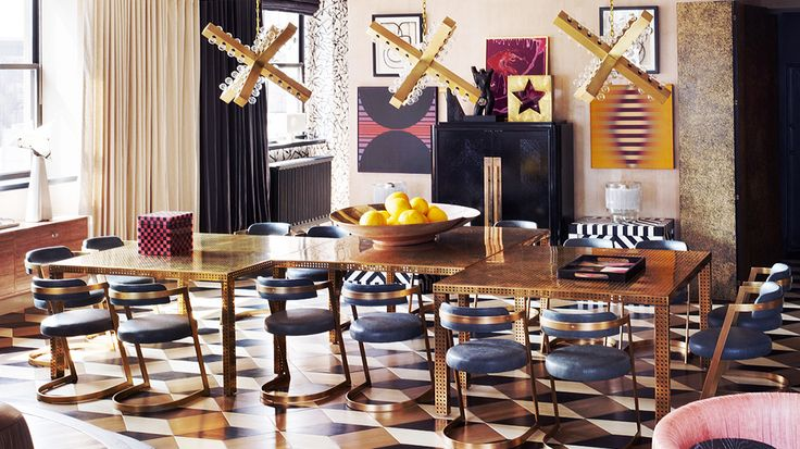 12 Top Designers Share the Best Style Lessons They Learned From Mom // Mother's Day, Kelly Wearstler, dining room by @Kelly WearstlerDining Rooms, Lights Fixtures, Floors, Dining Chairs, Kellywearstler, Interiors Design, Diningroom, Kelly Wearstler, Dining Tables