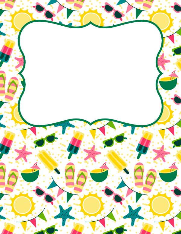 Free printable summer binder cover template. Download the cover in JPG or PDF format at http://bindercovers.net/download/summer-binder-cover/