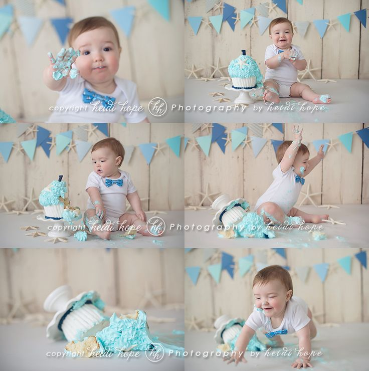 Like the setup with simple flag banner but for a girl and not seaside theme. 20 Cutest Photoshoots For Your Baby Boys First Birthday