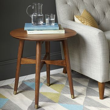Reeve Mid-Century Side Table from West Elm. I love this side table, too, but maybe it would be smarter to go with one that has a drawer.