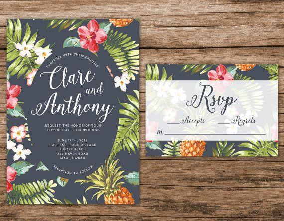 Hawaiian Wedding Invitation Tropical Wedding by AlexaNelsonPrints