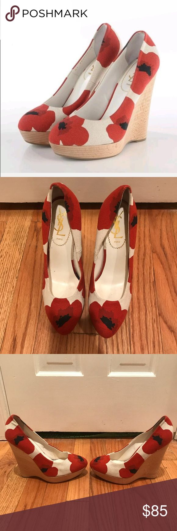 ‼️SALE‼️YSL Poppy Marina Canvas Wedges Size 37.5! These stunning canvas Yves Saint Laurent canvas poppy print platform Wedges make a great statement piece. Dress up your jeans or pair these with a little black dress to give some color. They feature a wooden wedge on an Approx 1 inch platform and a 5 1/2 inch wedge. They are good used condition with slight wear and marks to canvas and slight scuffing to soles. They are a size 37.5! Does not include original box or dust bag. Yves Saint Laurent…
