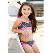 Bikini met stip van Bomba for Girls. Antraciet kleurige  bikini met witte stippen en neon accenten.