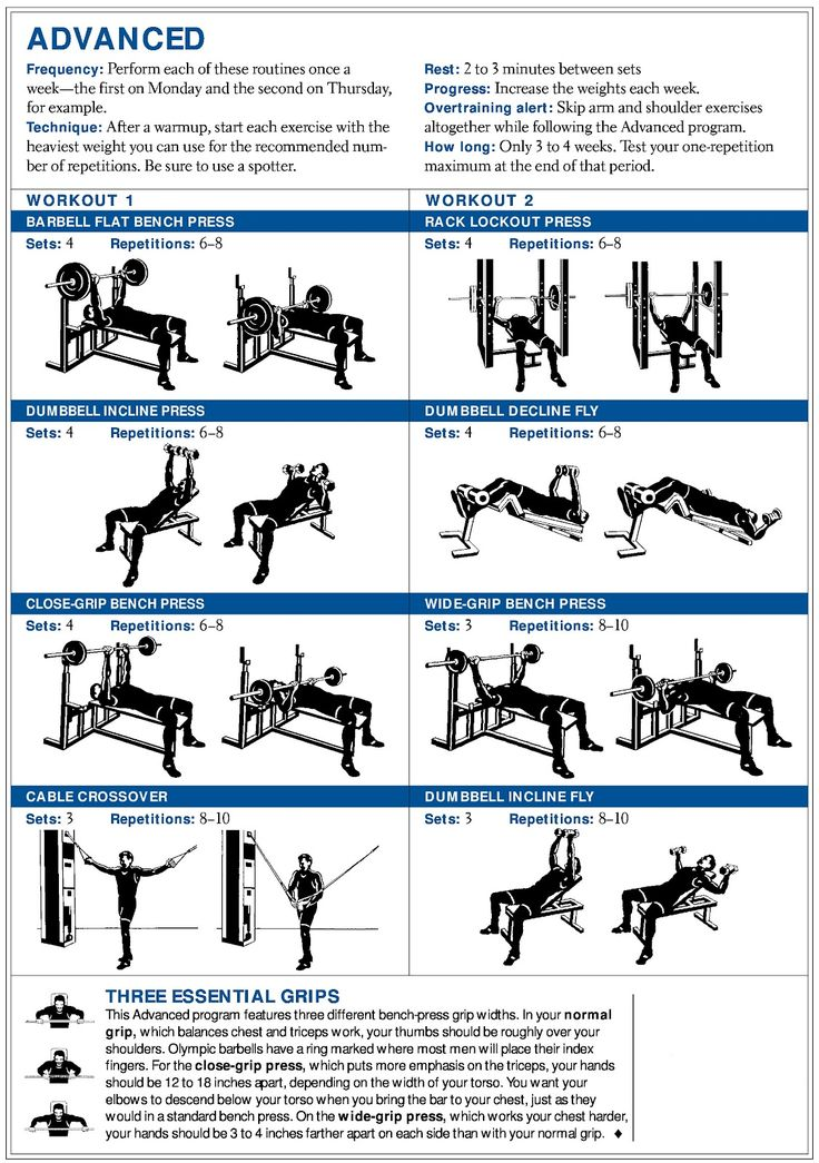 Printable Sample chest workout Form Best workout plan
