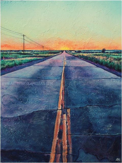 Road less travelled - acrylic on canvas by Nicola McLean Location - Route 66 near Shamrock, Texas