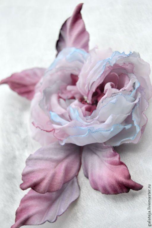 Цветы из шелка.Брошь- заколка Роза Парадиз - бледно-розовый,роза,роза из шелка
