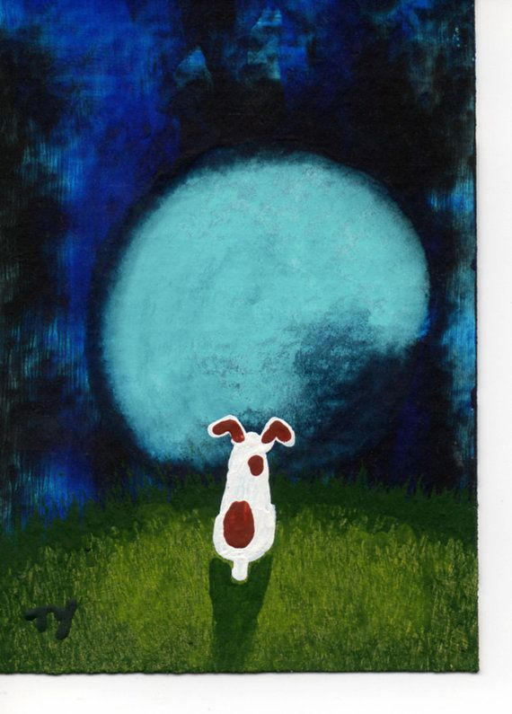 Jack Russell Dog ACEO folk Art Painting Original by ToddYoungArt, $24.95