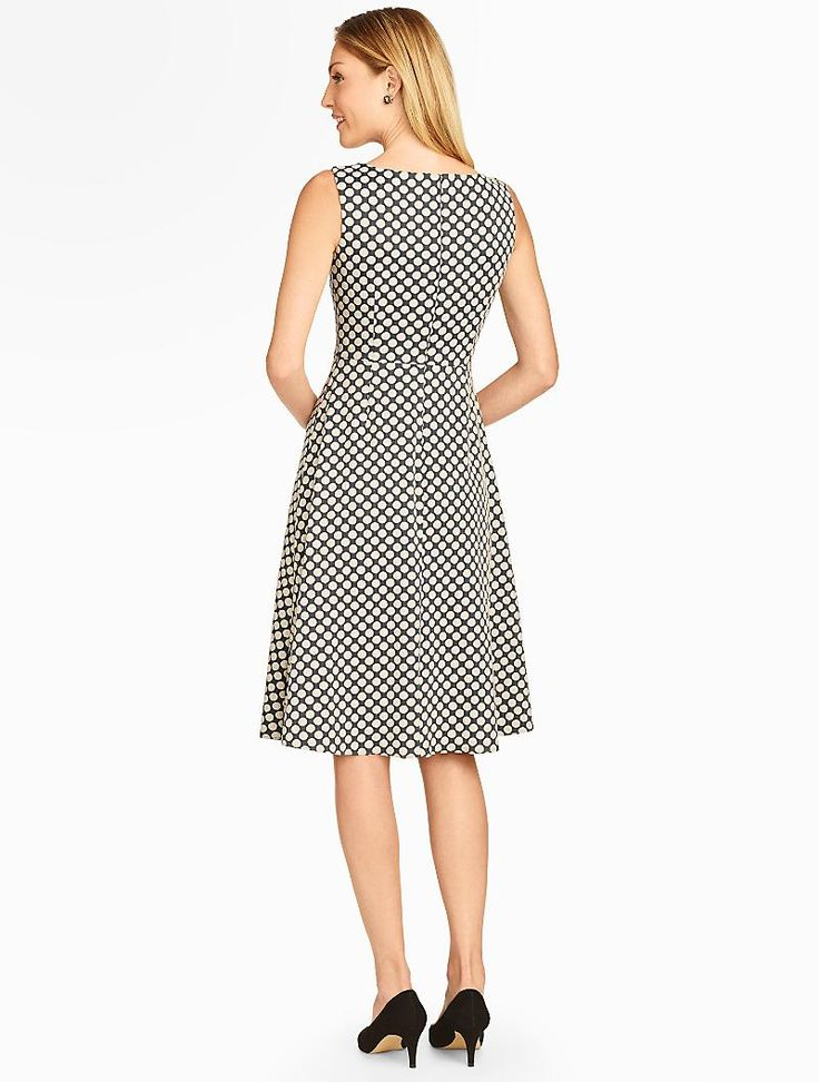 Talbots dot jacquard fit and flare dress dresses for Talbots dresses for weddings