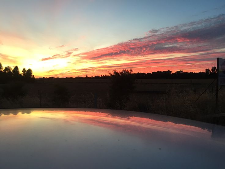 Sunrise reflected off the roof of the car #reflection #sunrise