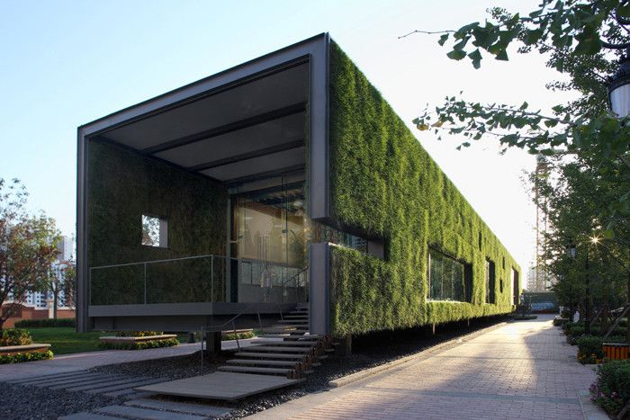 """Built by Vector Architects in Beijing, China with date 2008. Images by Vector Architecture. The project is a """"temporary"""" Green Technology Showroom of 3-year use for one of CR Land's (华润置地) residential projects..."""