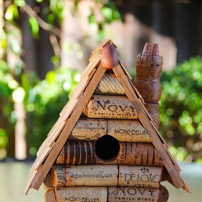 14 two women and a hoe bird house upcycled cork corks for How to build a birdhouse out of wine corks
