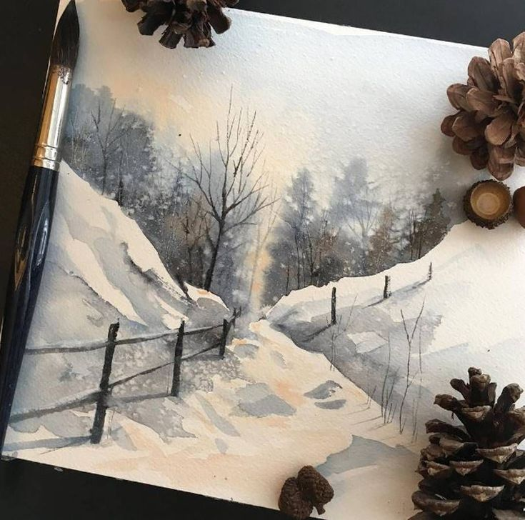 Winter scene watercolor painting payne's grey cold landscape artwork Awaisha #OilPaintingWinter