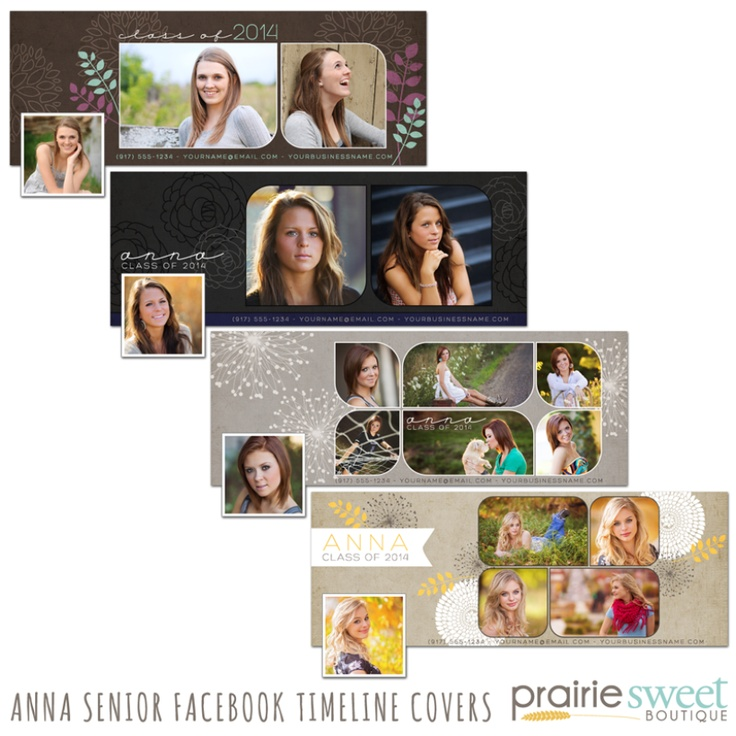 Beautiful Facebook Timeline Covers for High School Senior Girls | Photoshop Templates for Photographers | 50% OFF through 2/17
