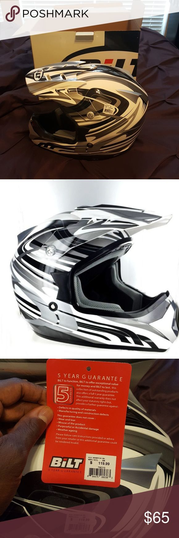 BILT REDEMPTION YOUTH HELMET Hi-tech injection molded polycarbonate shell  Quality painted shell with ultra-fine decal graphics with double lacquer finish  Full-face shell  Double D-ring safety fastening  Chin-bar airflow vent  Removable injection-molded visor with graphicd  Removable air-flow comfort padded lining  Meets or exceeds DOT specifications Bilt Other