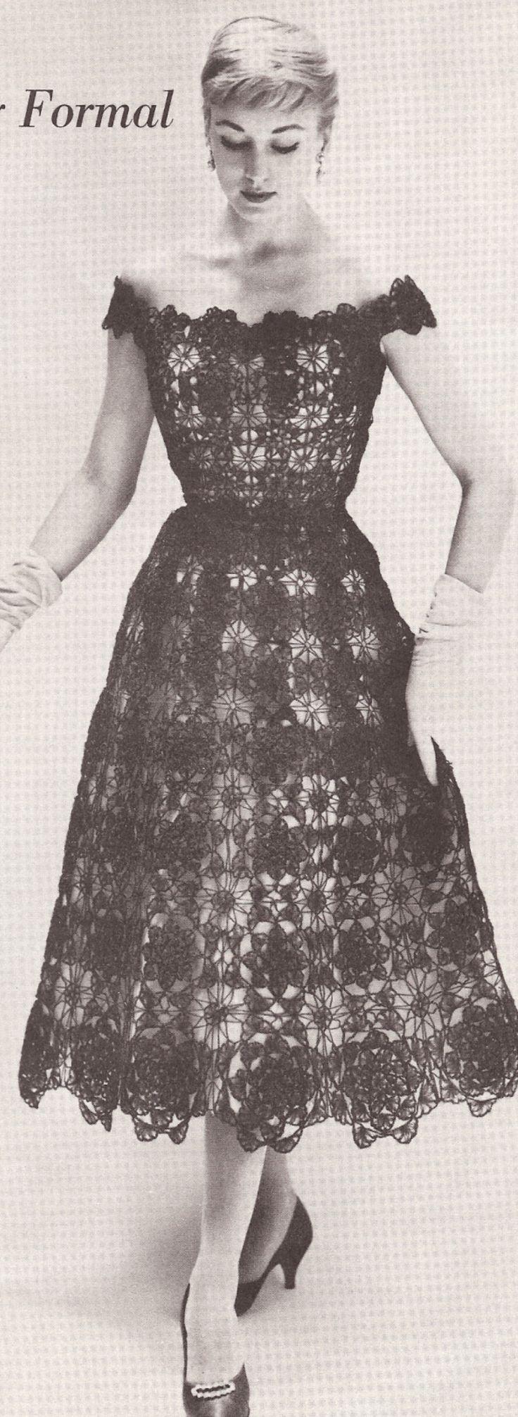 Vintage Crochet Lace Formal Evening Dress PATTERN 1950s