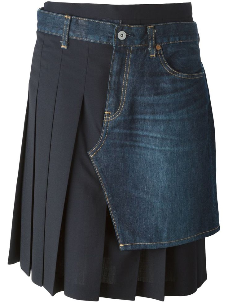 Junya Watanabe Comme Des Garçons Pleated Denim Overlay Skirt - Boutique Antonia - Farfetch.com