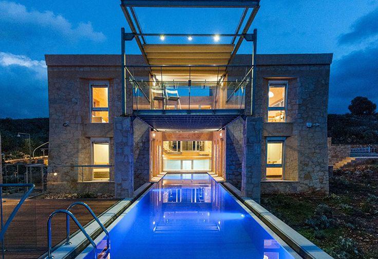 The impressive exterior of Kaminia pool villa in Apokoronas