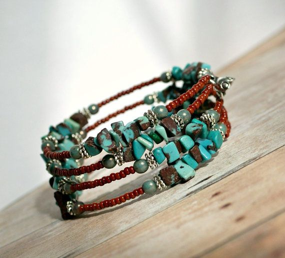 rustic turquoise memory wire wrap bracelet by pixiestrinkets, $12.00. .....I usually don't like gemstone chip jewelry, but I love the artistic way this was done.