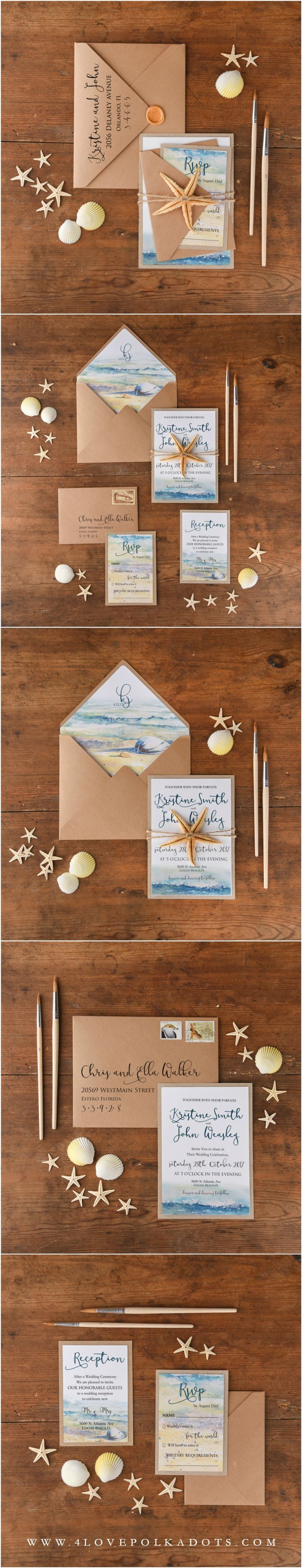 Watercolor Beach Wedding invitations #beachwedding #starfish #watercolor #romantic #rustic #weddingideas