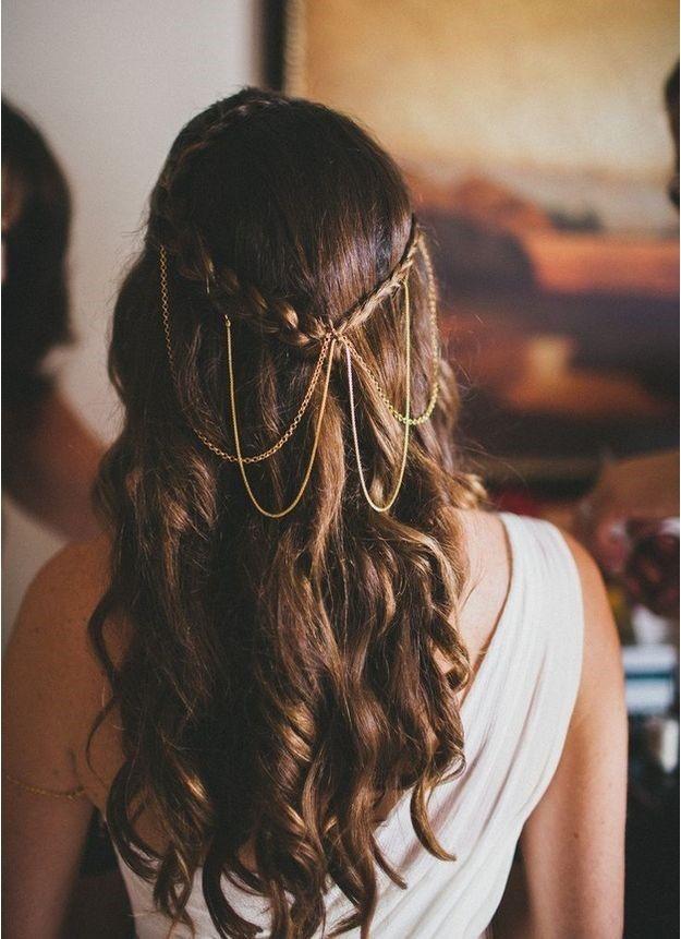 peinados de novia semirecogidos para pelo largo y lacio
