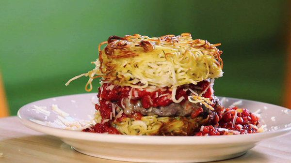 the chew | Recipe  | PYT's Spaghetti Burger Won't be making it to Philly anything soon, I guess I will have to try to see if I can make this one work at home!