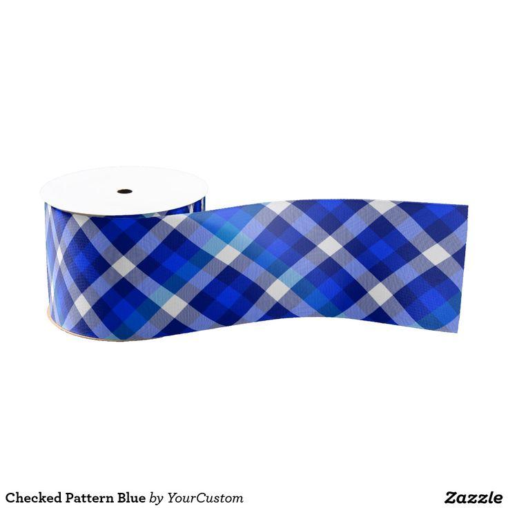 Checked Pattern Blue Grosgrain Ribbon
