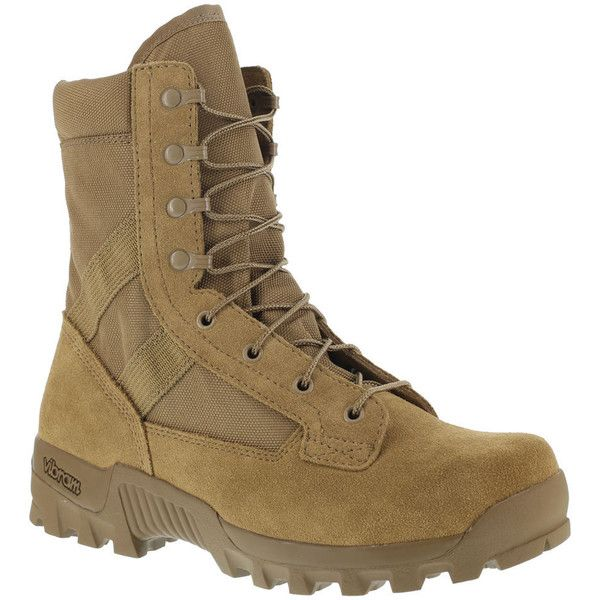 """Reebok Work Spearhead 8"""" Men's Tan Boot 10 W (4.255 UYU) ❤ liked on Polyvore featuring men's fashion, men's shoes, men's boots, men's work boots, tan, mens boots, mens leather lace up boots, mens tan leather boots, mens army boots and mens leather military boots"""