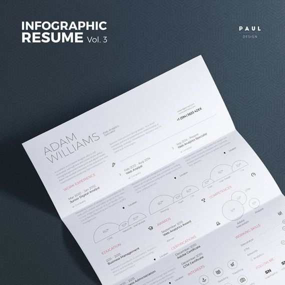 UltraClean #Infographic #Resume Vol.3 #Word and #Indesign #Template by #TheResumeCreator